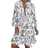 LOPILY Frauen Große Größen Blumenmuster Kleider Boho Stil Übergröße Sommerkleider Blumendruck Knielang Kleid Kurzarm Kleid Tunika Swing Kleid (Grau, 48)
