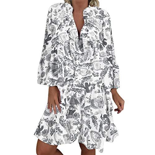 LOPILY Frauen Große Größen Blumenmuster Kleider Boho Stil Übergröße Sommerkleider Blumendruck Knielang Kleid Kurzarm Kleid Tunika Swing Kleid (Grau, 40)