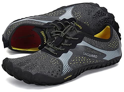 SAGUARO Barfußschuhe Damen Herren Zehenschuhe Traillaufschuhe Weich Bequem Barfussschuhe Fitnessschuhe Männer Frauen Trainingsschuhe für Joggen Laufen Wandern, Crow Black, 41