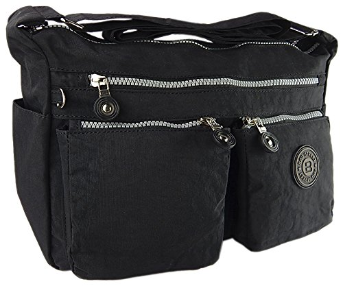 Bag street hochwertige Damenhandtasche aus Crinkle Nylon Schultertasche Sportliche Umhängetasche (Schwarz)