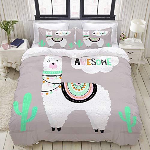 Funda nórdica, Linda Llama Impresionante con Cactus y Elementos de diseño étnico, Bedding Juego de Fundas de Colcha de poliéster de Lujo Ultra cómodo y Ligero