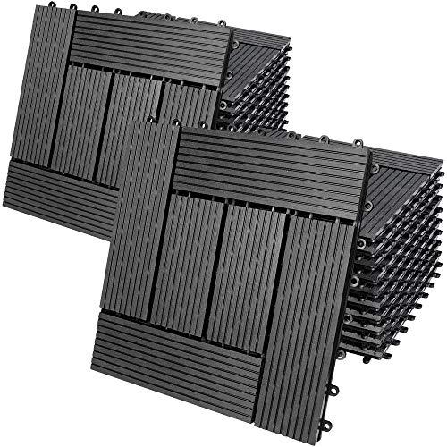 Deuba Set de 22 baldosas losas de WPC Antracita Modelo 'Mosaico' para jardín terraza Exterior Sistema de Encaje 30x30cm