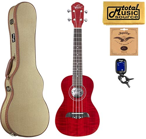 Oscar Schmidt OU2FTR Flame Trans Red, Concert Ukulele Tweed Case Bundle
