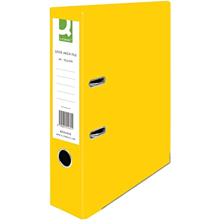 Pack of 10 KF20023 Q-Connect 70mm Lever Arch File Polypropylene A4 Yellow