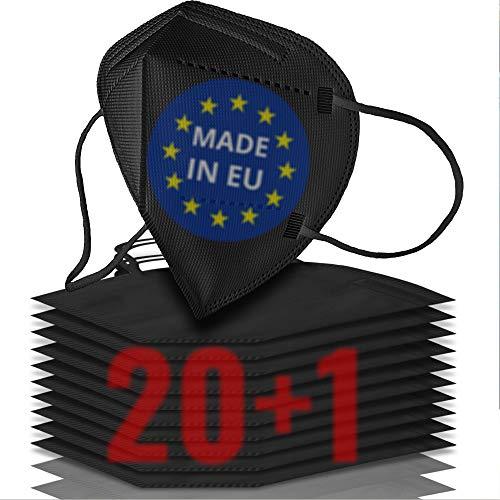 21x FFP2 Maske schwarz CE zertifiziert MADE IN EUROPE - Geprüfte schwarze FFP2 Maske - 5 Lagen Maske FFP2 schwarz CE zertifiziert - FFP2 Mundschutz schwarz - 21x atmungsaktive schwarze Maske FFP2