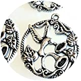 4 Hummingbird Antique Silver Pewter Pendant Charms Exquisite Bird Flower 30mm for Jewelry Making Bracelets Necklaces Supplies for DIY Crafts Handmade Bracelets Beadwork
