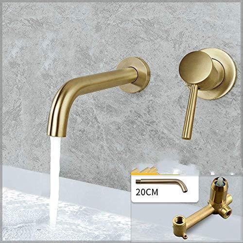 Vollkupfer in die Wand heißes und kaltes Wasser Ziehen Gold 20cm nicht rotierenden Mund Ein-Körper,Hohe Auslaufhöhe - Wasserhahn fürs Bad/Waschbecken-Armatur/Badarmatur