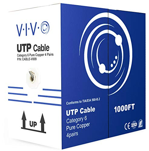 VIVO Gray 1,000ft Bulk Cat6, Full Copper Ethernet Cable, 23 AWG, UTP Pull Box, Cat-6 Wire, Indoor, Network Installations CABLE-V009