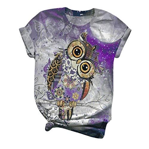 Dicomi Women Plus Size Short Sleeve T-Shirt 3D Animal Printed Crewneck Tee Blouse Tops Purple