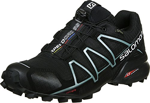 Salomon Women's Speedcross 4 GORE-TEX Trail Running Shoes, Black/Black/Metallic Bubble Blue, 6 M US