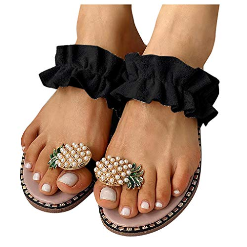 Aniywn Sandals for Women Flat,Sweet Cute Pearls Pineapple Sandals Clip Toe Flip Flops Boho Casual Slippers Beach Shoes Black