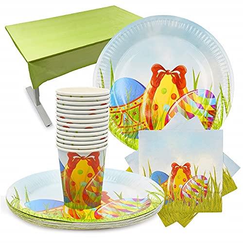THE TWIDDLERS Set da tavola USA e Getta di Pasqua - per 15 Persone - Ottimo per Feste - 15 Bicchieri, 15 Piatti, 30 tovaglioli e Una Grande tovaglia a Tema Pasquale Decorazione