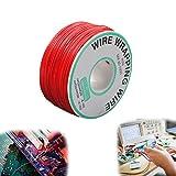 Cable Electrónica 30 AWG,250 Metros(820 Pies) Rollo Cable Eléctrico,Diámetro del Núcleo de 0,25mm(0,01pulg.) Hilo Cobre para Soldadura de Placa de Circuito(Rojo,250 m/Rollo)