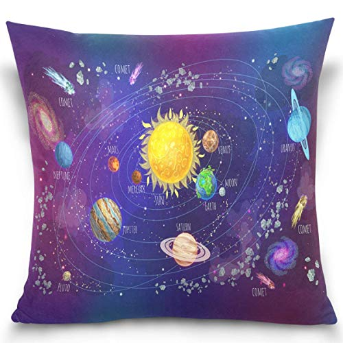 Moily Fayshow Space Educational Solar System Comets Meteors Planets Sun Throw Pillow Covers Square Decorative Pillowcase Cushion Cover 40X40 Cm