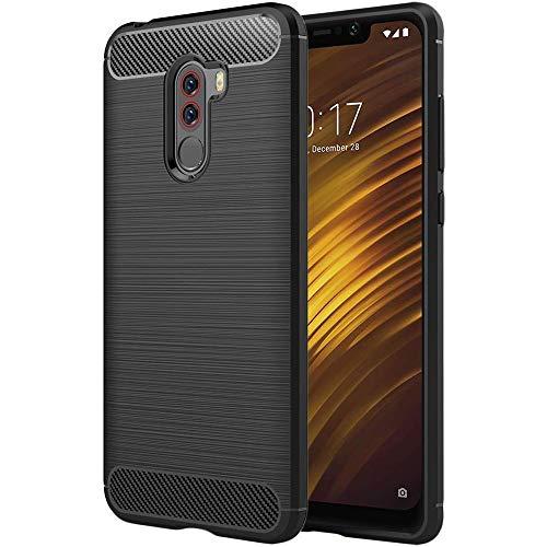 ebestStar - kompatibel mit Xiaomi Pocophone F1 Hülle Kohlenstoff Design Schutzhülle, TPU Handyhülle Flex Silikon Hülle, Schwarz [Phone: 155.5 x 75.3 x 8.8mm, 6.18'']