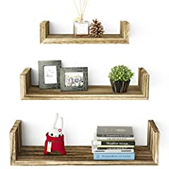 SOLID WOOD WALL SHELVES - Different from other shelves, ours are made of real wood. Three floating shelves offer adequate space for holding your favorite items. CLASSIC & RUSTIC FLOATING SHELVES - The U-shaped wall shelves feature a torched finish wi...