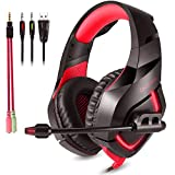 ONIKUMA K1B Stereo Gaming Headset with Mic, Controls and LED light for PC