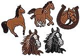 i-Patch 0062 - Toppa da applicare con ferro da stiro, motivo: cavallo - pony - unicorno, puledri - testa di cavallo - ferro di cavallo - equitazione - applicazione da applicare con ferro da stiro