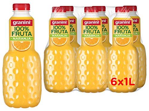 Granini sin azúcar añadido zumo 100 % frutas, zumo naranja sin aditivos ni azúcares añadidos, zumos granini naranja - pack 6 unidades de 1L