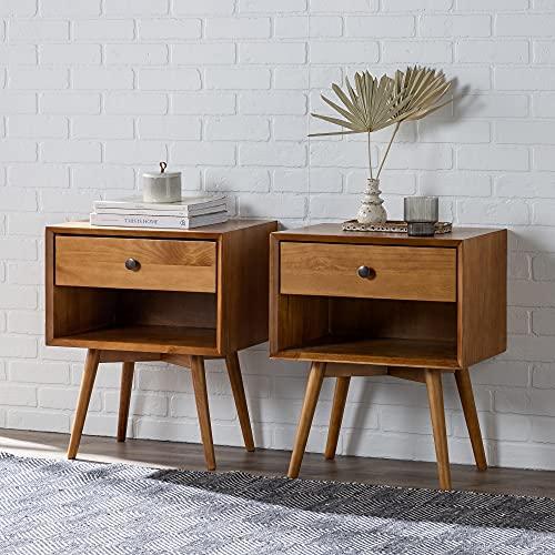 Walker Edison Ella Mid-Century Modern 2-Piece 1-Drawer Solid Wood Nightstand Set, 2 Pack, Caramel