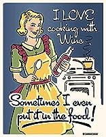 ワインで調理メタルティンサイン