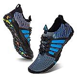 Water Shoes Mens Womens Beach Swim Shoes Quick-Dry Aqua Socks Pool Shoes for Surf Yoga Water Aerobics (B/Blue Gray, 39)