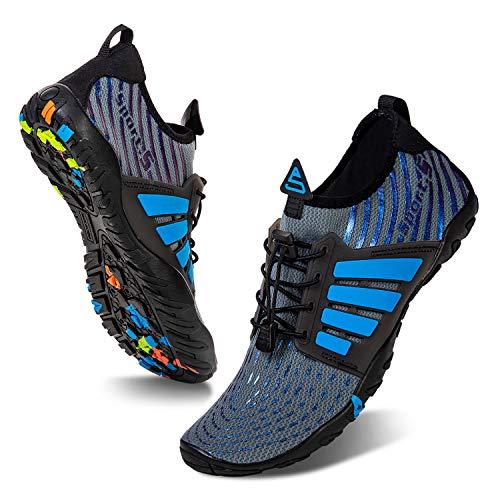 Water Shoes Mens Womens Beach Swim Shoes Quick-Dry Aqua Socks Pool Shoes for Surf Yoga Water Aerobics (B/Blue Gray, 43)