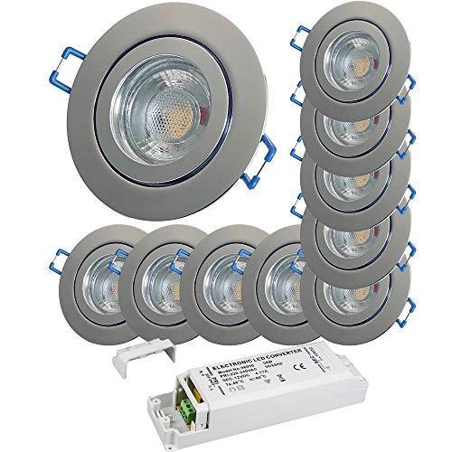 LED Bad Einbaustrahler 12V inkl. 10 x 3W LED LM Farbe Chrom IP44 LED Einbauleuchten Neptun Rund 4000K mit Trafo