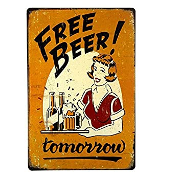 Free Beer Tomorrow Bar Pub Garage Man Cave Rustic Metal Tin Sign Yellow Vintage 8x12 Inch