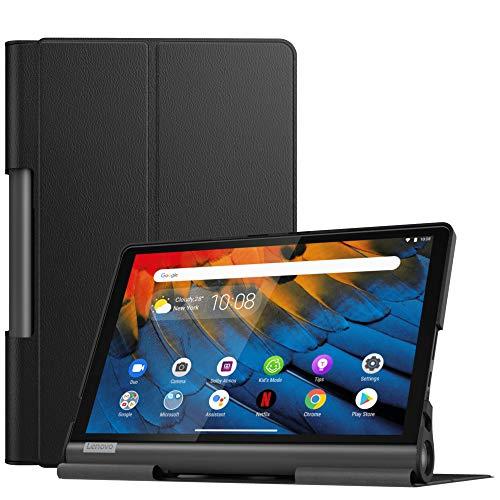 MoKo Hülle für Lenovo Yoga Smart Tab 10.1 (YT-X705F), Ultra Slim PU Leder Tasche Schutzhülle Standfunktion für Lenovo Yoga Smart Tab 10.1(YT-X705F) Tablet - Schwarz