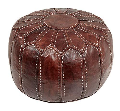Marokkanischer Sitzkissen Pouf Bezug. Echtes Braunes Leder. Handgearbeitet und handgenäht.