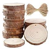 JieGorge - Rodajas de madera redondas, 30/50 unidades, 6 – 7 cm, discos de madera de cáñamo, 10 m, cuerda de madera natural, decoración para el hogar
