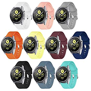 GinCoband 10PCS Galaxy Watch 3 Bands,22mm Quick Release Silicone Bands for Samsung Galaxy Watch 3 45mm /Gear S3 Frontier Classic/Galaxy Watch 46mm   10-Pack Silver Buckle