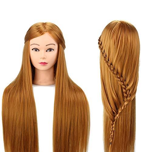 Cabeza de maniquí de peluquero 76cm de entrenamiento Muñeca de cabeza de peluquero de Neverland con pelo largo 100% fibra sintética con pinza