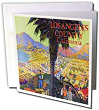 3dRose Image of Los Angeles California with palm and mountains - Greeting Cards, 6 x 6 inches, set of 12 (gc_163616_2)