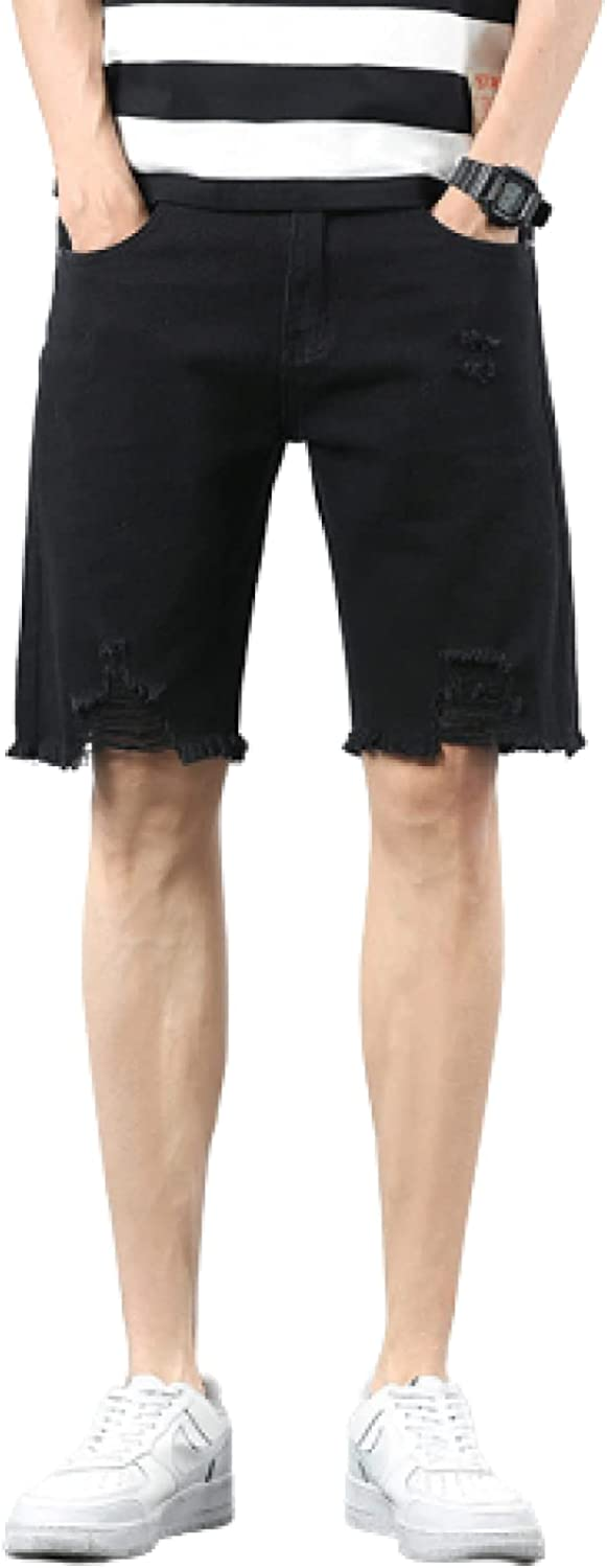 Segindy Men's Denim Shorts Summer Fashion Solid Color Ripped Holes Casual Comfortable