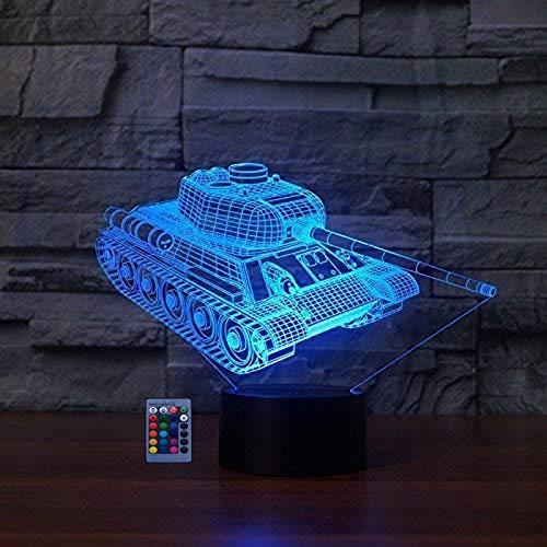 HPBN8 Ltd 3D Panzer Illusions LED Lampen 7/16 Farbwechsel Fernbedienung Berühren Nachttisch Schreibtisch-Nachtlicht USB-Kabel für Kinder Schlafzimmer Geburtstagsgeschenke Weihnachten Geschenk