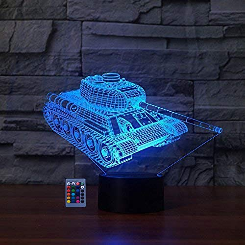 3D Panzer Illusions LED Lampen 7/16 Farbwechsel Fernbedienung Berühren Nachttisch Schreibtisch-Nachtlicht USB-Kabel für Kinder Schlafzimmer Geburtstagsgeschenke Weihnachten Geschenk