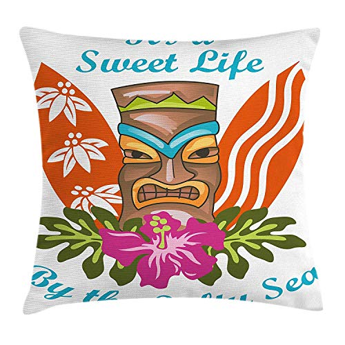 FPDecor Tiki Bar kussensloop met ritssluiting, Sweet Life by The Salty Sea tekst met Tiki Figure en Hibiscus Flower Art Print, Decoratieve Square sierkussens, 18 x 18 inch, multicolor
