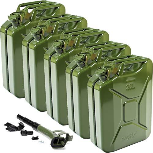 Oxid7 5X Benzinkanister Kraftstoffkanister Metall 20 Liter + Ausgießer mit Halterung - UN-Zulassung - Bauart geprüft - Jerry Can mit Bajonettverschluss