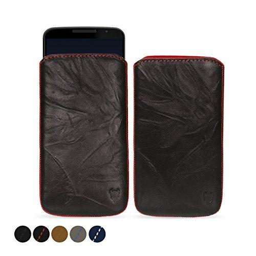 MediaDevil Google Nexus 6 (2014) Lederhülle (Schwarz mit roten Nähten) - Artisanpouch Hülle aus echtem europäischen Leder mit Ausziehlasche