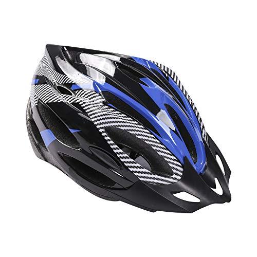 Casco de Bicicleta para Adulto Casco Bici Protector Ligero de Ciclismo con Correa Ajustable y Visera Desmontable para Montar Protección de Seguridad Unisex para Carretera Montaña (Azul , Talla Única)
