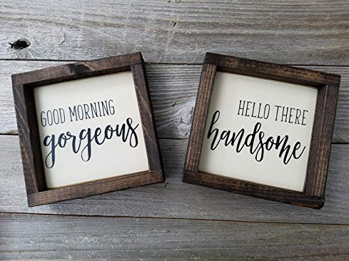 Good Morning Gorgeous Hello There Handsome Wood Sign Set (2 Signs)