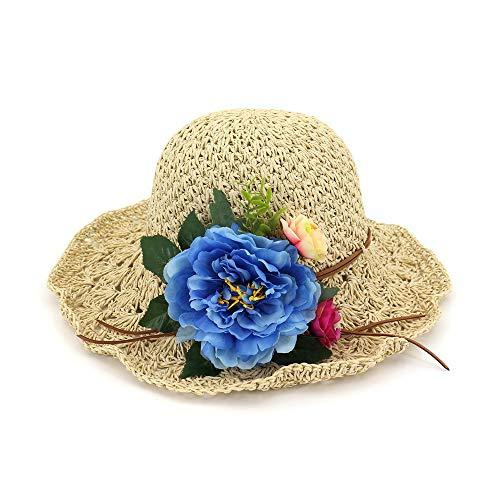 WANGJUN Handgemachte Frauen häkeln Blume Frauen Strohhut Sonnenhut Dame Sommer Strand Sonnenhut (Color : Light Khaki, Size : 56-58cm)