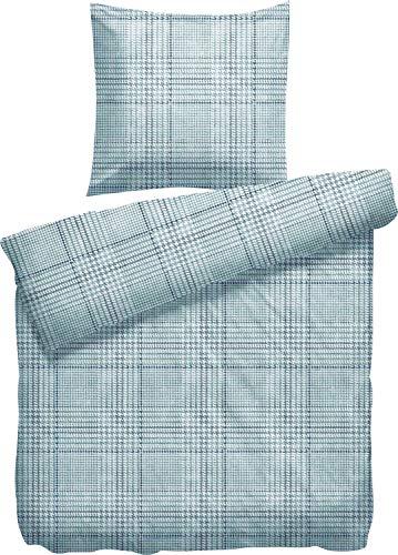 Heckett Lane Parure de lit en Flanelle Émeraude 135 x 200 cm + 80 x 80 cm