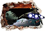 Adhesivo vinilo de pared Star Wars con diseño impreso de agujero y estrella de la muerte (SS40010), vinilo, Small 280mm x 200mm