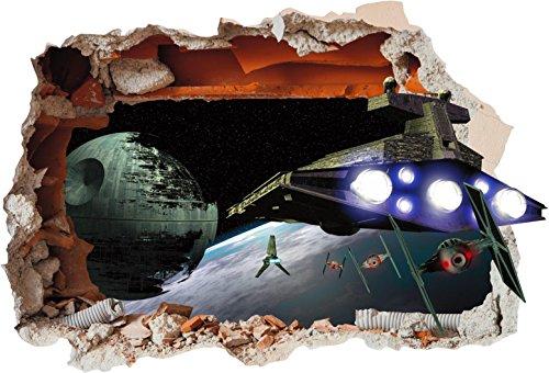 Solo Signs UK SS40010 Autocollant en vinyle avec imprimé Étoile de la mort Star Wars avec effet « trou dans le mur », Vinyle, Small 280mm x 200mm