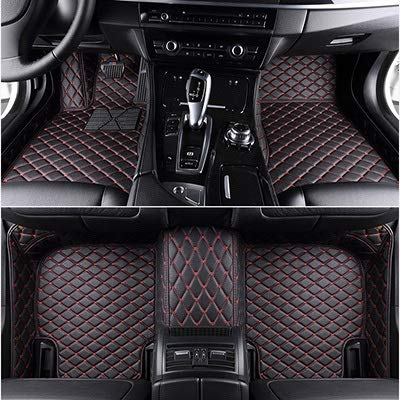 Mlzaq Custom Car Fußmatten for Mercedes W212 Alle Modelle W204 W205 Cla Amg W245 Glk Gla Gle Gl X164 Vito Leder Automatten Zubehör (Color Name : Black red)