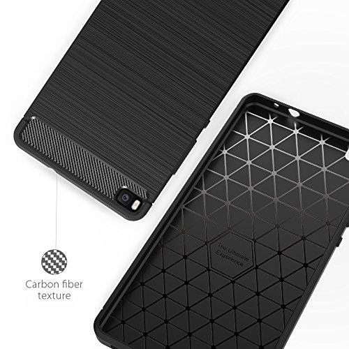 Simpeak Hülle Kompatibel für Huawei P8, Premium Weiche Karbonfaser Elastisch Schützendes Rückseiten-Case Kompatibel mit Huawei P8 - 4