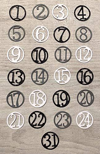 Simplelettering Stanzschablone/Cutting Dies Adventskalenderzahlen 2 cm (neu seit September 2019 mit Zahl 31) für Adventskalender Basteln Weihnachten Xmas Kalender Zahlen für gängige Stanzmaschinen